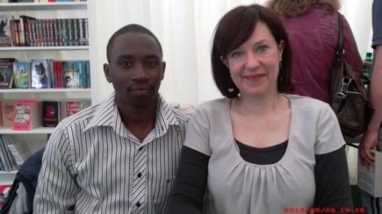 Storymoja's Alex Kandie with Author Sophie McKenzie at the Hay Festival UK